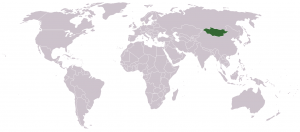 Location of Mongolia on a map of the World.