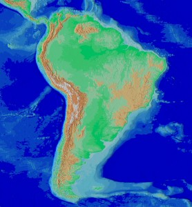 Relief map of South America showing the Andes mountain range.