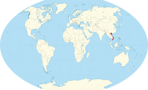 A world map showing the location of vietnam (marked in red).