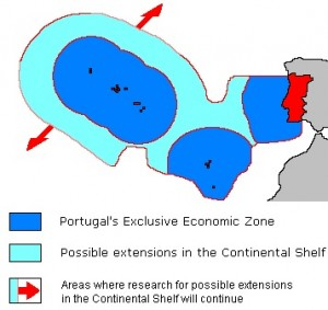 A map of the exclusive economic zone of Portugal