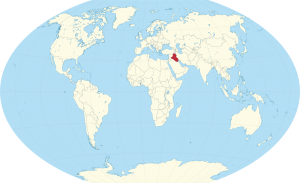 A map of the world with Iraq highlighted in red.