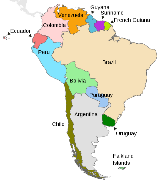 A politcal map of South America with the location of Chile marked in dark green.