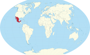 A world map with the location of Mexico marked in red.