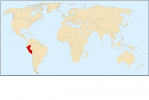 A world map with the location of Peru marked in red.