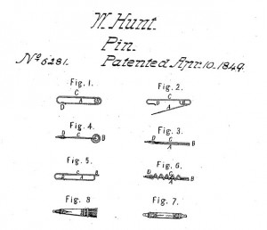 A copy of U.S. patent # 6281. A safety pin invented by Walter Hunt.