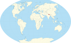 A world map showing the location of Nepal.