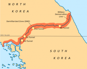 A map of the Koran peninsula showing the demarcation line and demilitarized zone.