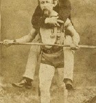 "Jean François ""Charles Blondin"" Gravelet walking on a tightrope above Niagara Falls with his manager on his back."
