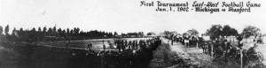 A black and white image of the first rose bowl.
