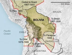 A map showing the terriotry that Bolivia has lost to the surrounding countries.