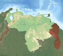 A map showing the disputed region between Venezuela and Guyana