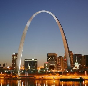 The Gateway Arch in St Louis.
