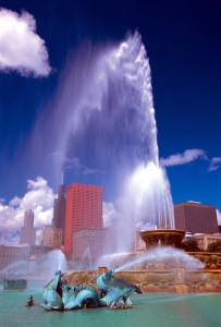 Buckingham Fountain in Grand Park, Chicago.