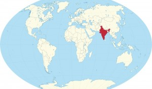 A map of the world with the location of India marked in Red.