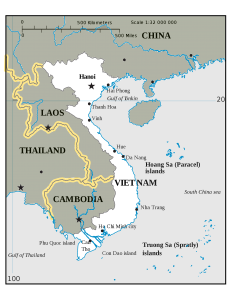 Political map of the Indochina Peninsula.