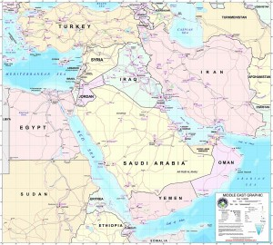 A political map of the Middle East.