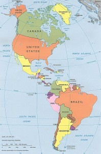 A polical map of the Americas.