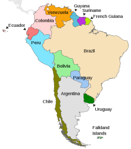A politcal map of South America with the location of Colombia marked in pink.