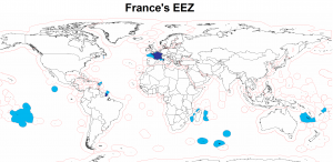 A map of the exclusive economic zone of France.