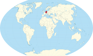 A world map with the location of Germany marked in red.