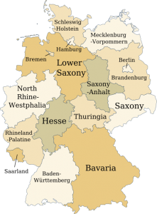 A politcal map of Germany showing the location of the states.