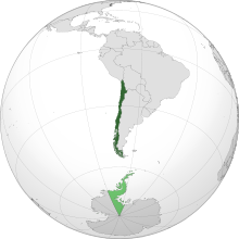 A map of Chile showing the mainland and Antarctic claim.