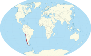 A world map showing the location of Chile marked in red.