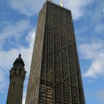 A picture of the John Hancock Center showing the unique X-bracing design.