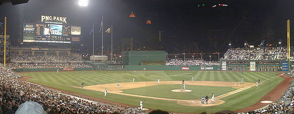 A night ballgame at PNC Park