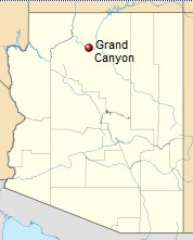 A map of Arizona with the location of the Grand Canyon marked.