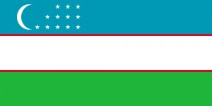 The national flag of Uzbekistan