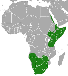 A map showing the range of the aardwolf.