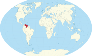 A world map showing the location of  Venezuela